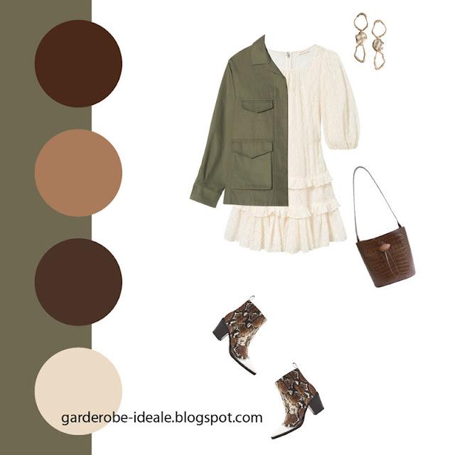 Оливковый жакет утилити с белым платьем и ковбойскими ботинками