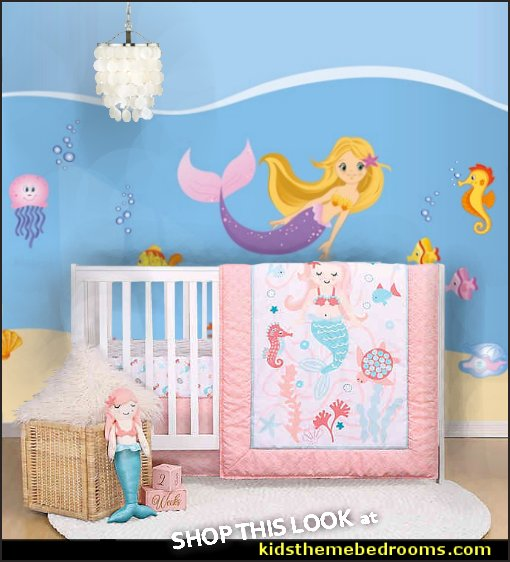 Mermaid Kisses 5 Piece Baby Girl Crib Bedding Set mermaid crib bedding under the sea mermaid nursery bedding