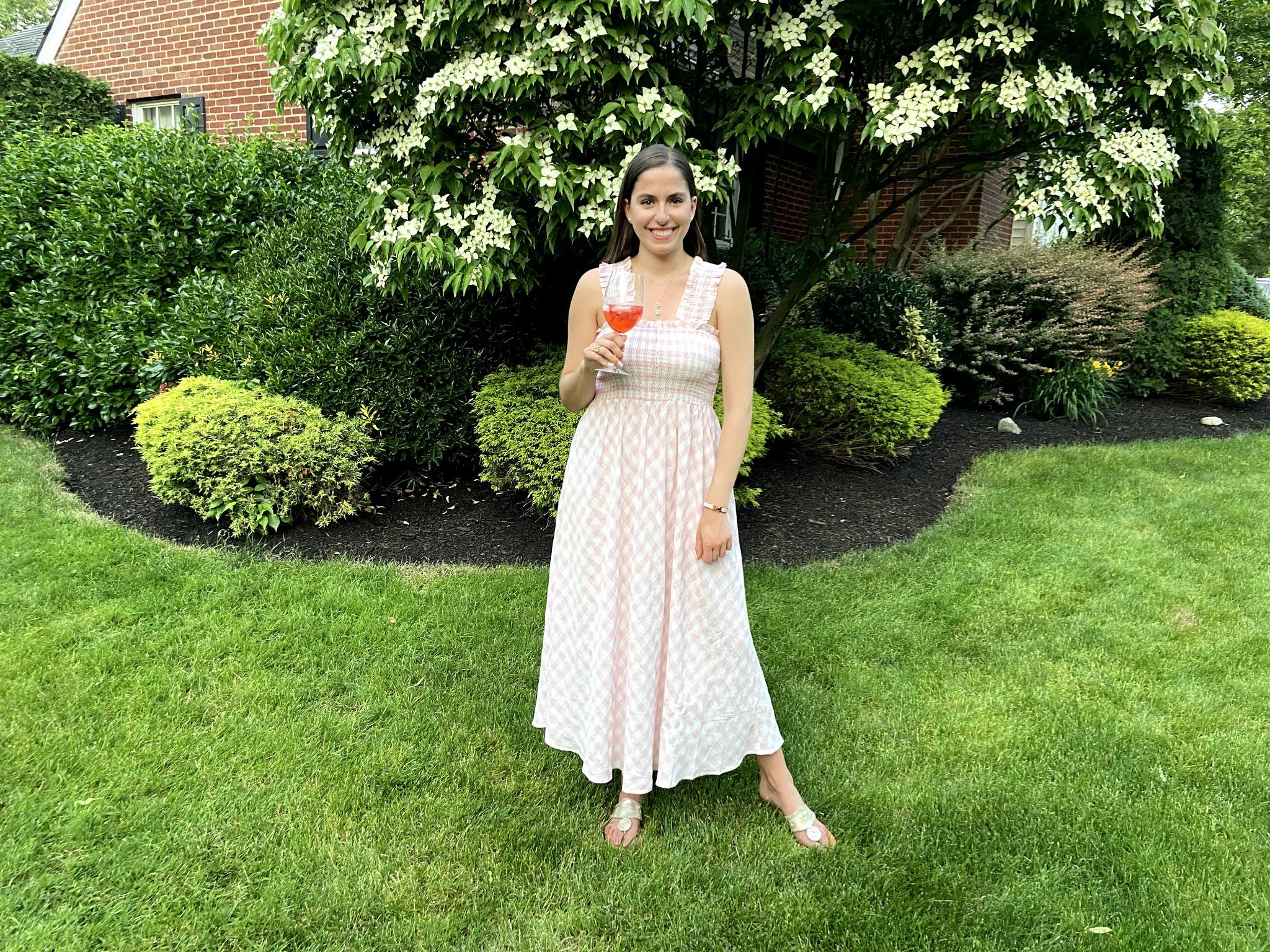 gingham maxi dress, pink dress, pink summer dress