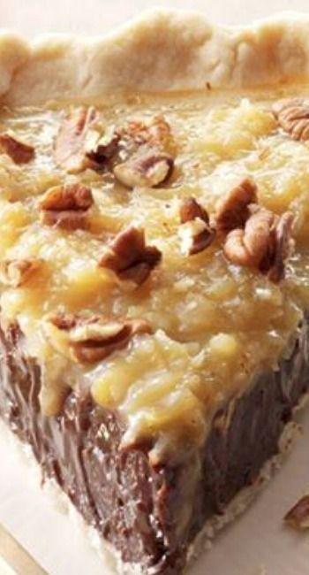 Coconut-Pecan German Chocolate Pie #DESSERT #PIE