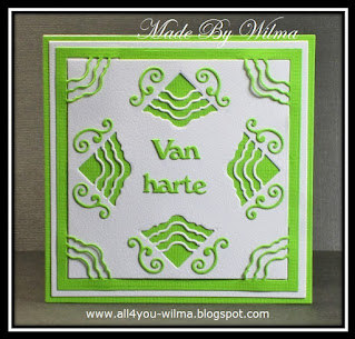 Een groen-witte felicitatiekaart met o.a. 2 verschillende Inside or Out-stansen. A green and white congratulatory card with, among other things, 2 different Inside or Out dies.