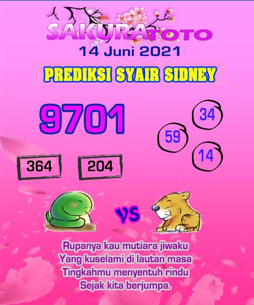 Syair Sakuratoto Sidney Senin 14 Juni 2021