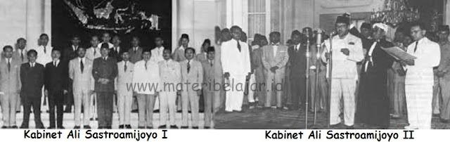 Bagaimana sejarah Kabinet Ali Sastroamijoyo pertama (I) Dan kedua (II) dan apa yang menjadi penyebab Kabinet Ali Sastroamijoyo runtuh/ jatuh
