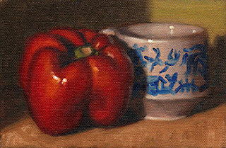 Oil painting of a red pepper beside a willow pattern teacup.