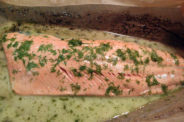 Beautifully baked salmon in sauce