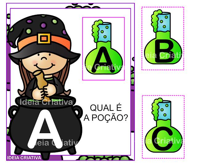 Flash Cards para trabalhar letras do Alfabeto temática Halloween