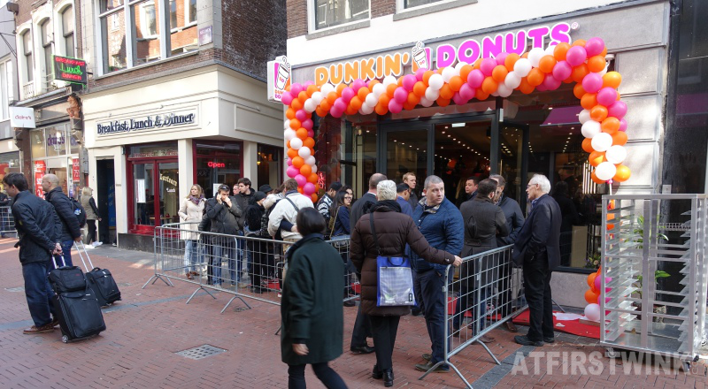 Dunkin' Donuts store entrance opening day in Amsterdam Netherlands
