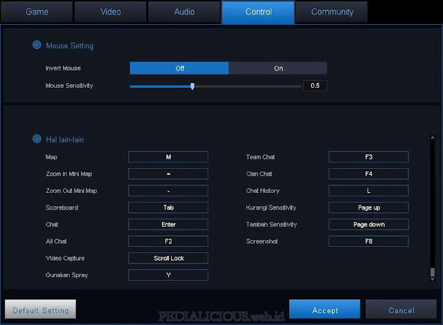 Pengaturan default (default setting) mouse dan keyboard game Point Blank Evolution
