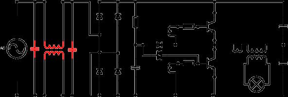 Self starting Half Bridge oscillator highlighting mains noise filter components