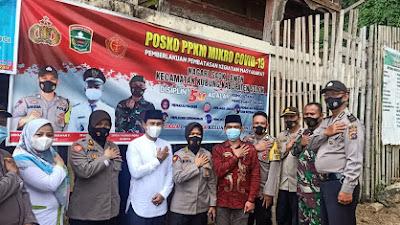 Sinergi TNI Polri, Babinsa Koramil 01/ Kubung Kodim 0309 Solok  Gandeng Polda Sumbar Kunjungi Posko PPKM Mikro Nagari Saok Laweh