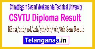 CSVTU BE 1st/2nd/3rd/4th/5th/6th/7th/8th Sem Result