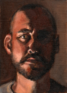 Oil painting of the face of a bald man with a short black beard.