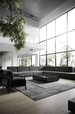 sala minimalista em preto e branco