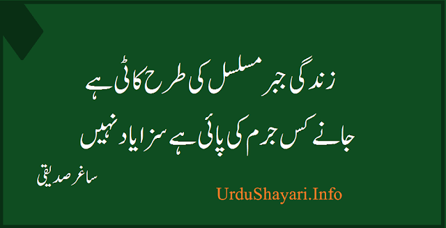 Zindagi Jabbar e Musalsal Ki Tarah Kaati Hay Yaad Shayari in urdu 2 lines - best urdu poetry