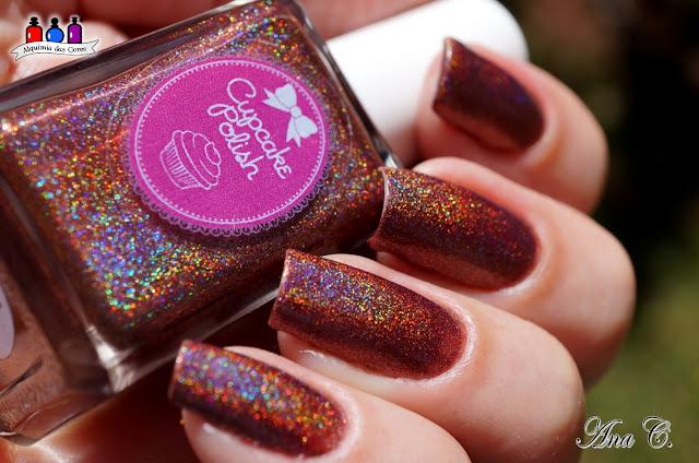 cupcake polish, nut´n better, marrom holográfico