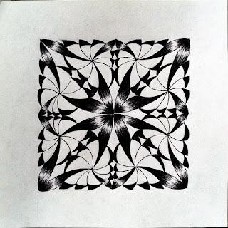 New zentangle pattern 4-Corner Corolla - progressive step 2