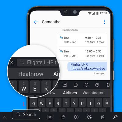 لوحة-مفاتيح-سويفتكي-تدعم-البحث-في-الويب-من-داخل-اللوحة-Search-Insta-flights-english