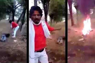 "Rajasthan India: Shambhu Lal film himself while killing Afrazul Khan with an axe and leaving the body on fire, then speaking on camera to warn Muslims against ""love Jihad"", term used by Hindu Extremists to accuse Indian Muslims."