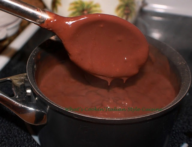 this is a pan of homemade chocolate pudding in a saucepan
