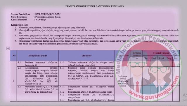 Pemetaan KD PAI Kelas 6 Kurikulum 2013 Revisi 2021 Semester 2