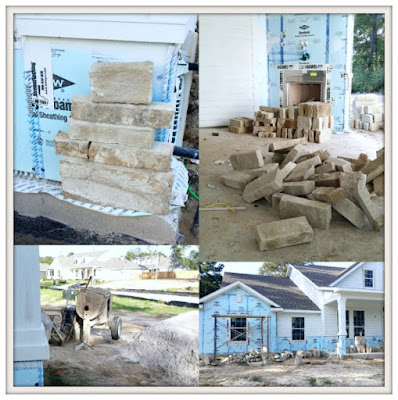 Building A Suburban Farmhouse-David Weekley-Rock On Front Of Home