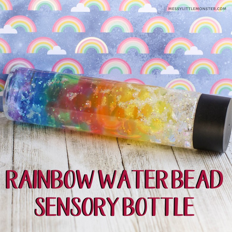 Rainbow water bead sensory bottle