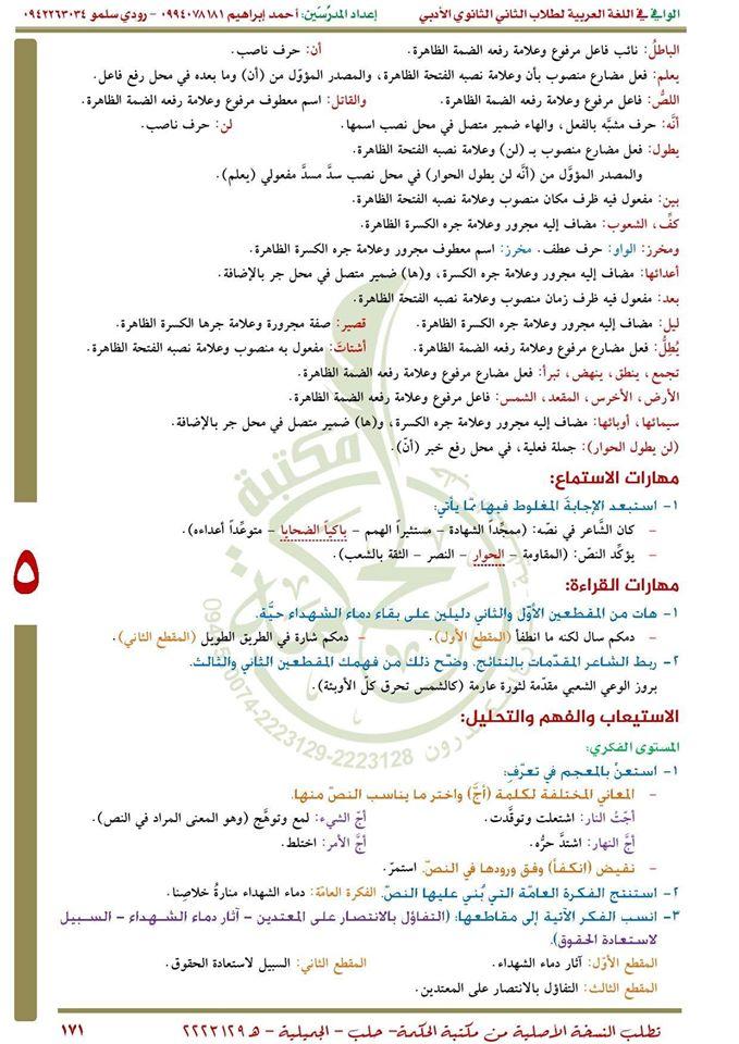 مواضيع اللغة العربية للصف الحادي عشر علمي في سوريا