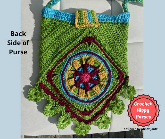 Back VIEW Green Crochet Hippy Purse designed by Minaz Jantz