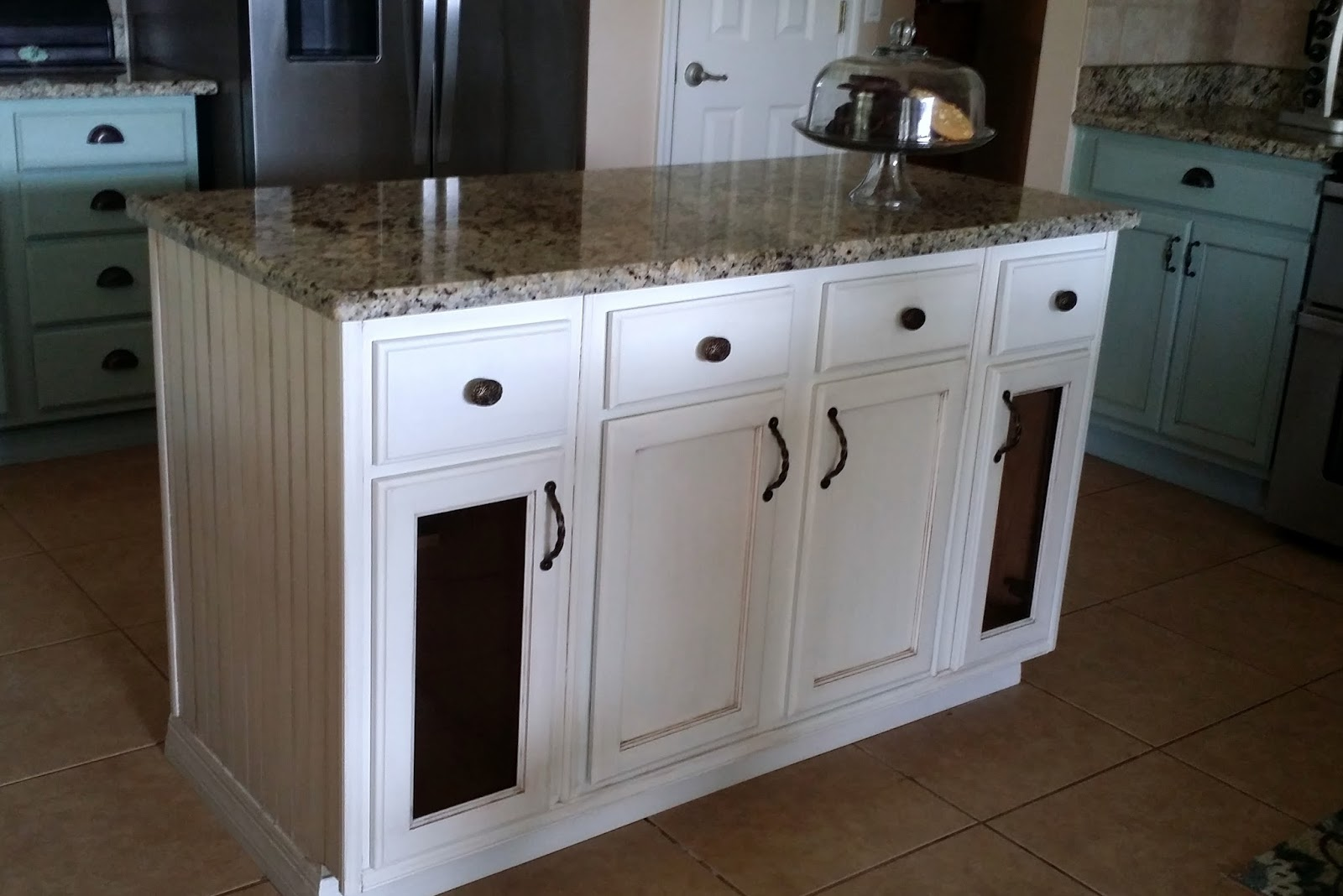 Simple We added trim pieces a granite top molding bead board and here us the island all finished