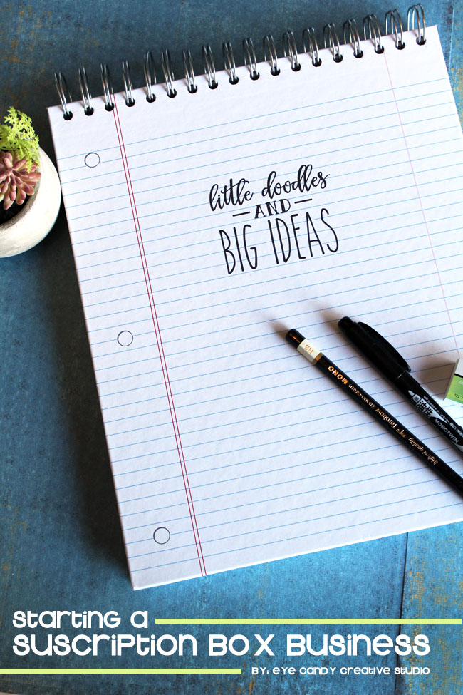 starting a subscription box business, hand lettering, sketchbook of ideas