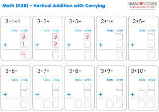 MamaLovePrint 數學工作紙 - 直式借位加法 加法進位 幼稚園工作紙 Addition With Carrying Math Kindergarten Worksheets Exercises Activities Kindergarten Worksheet Free Download