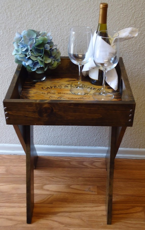 Side Table with French Typography Removable Tray - SOLD