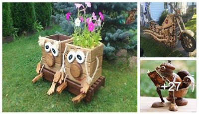 Ideas en madera para el jardín hechas con troncos de madera