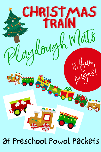 preschool Christmas train playdough mat
