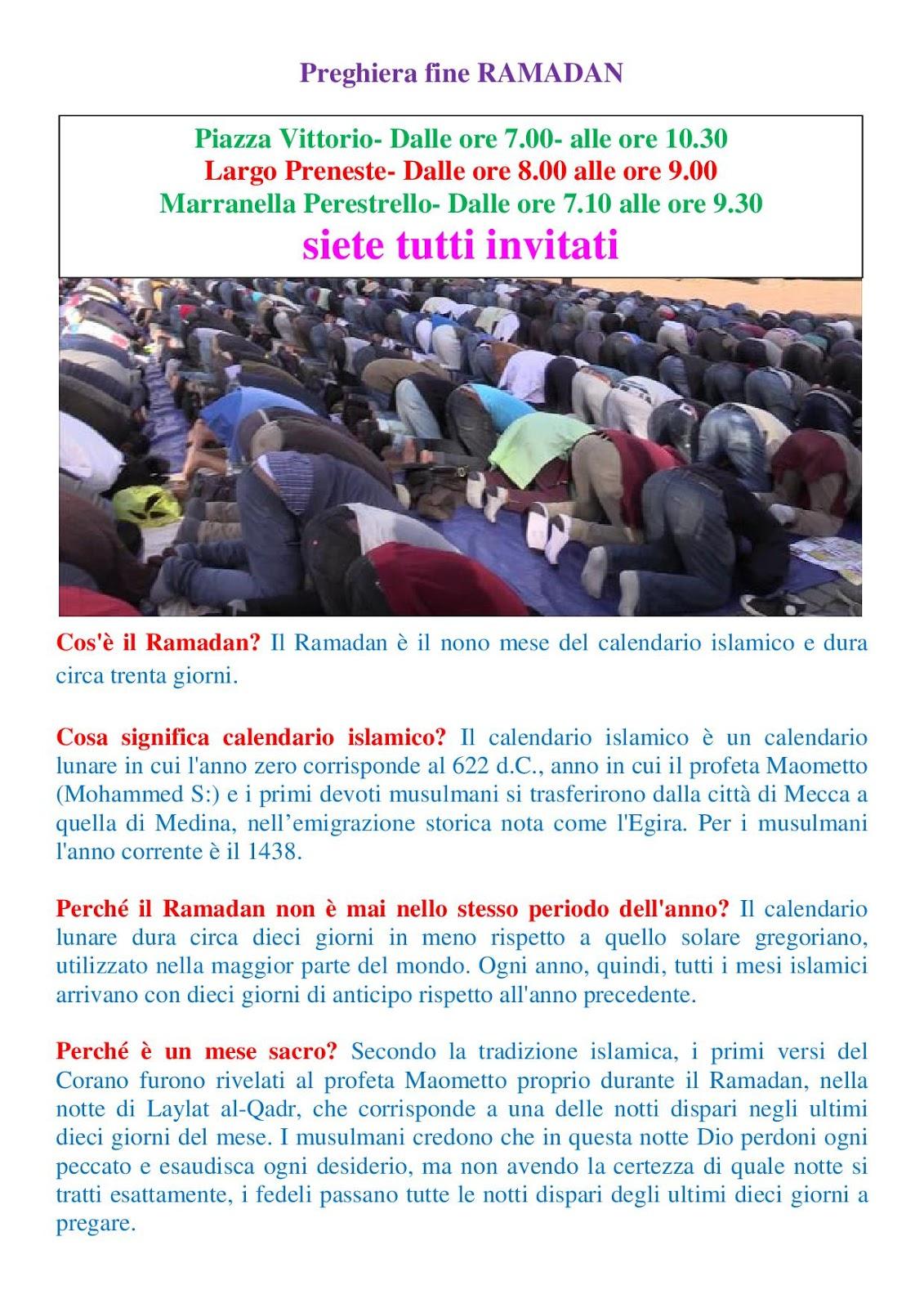 Il Calendario Islamico.Dhuumcatu Preghiera Fine Ramadan A Piazza Vittorio