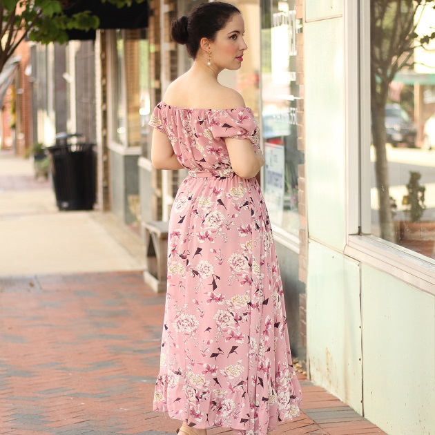 Shein Pink Floral Ruffle Dress