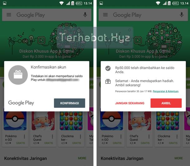 cara memasukan kode voucher indomaret google play