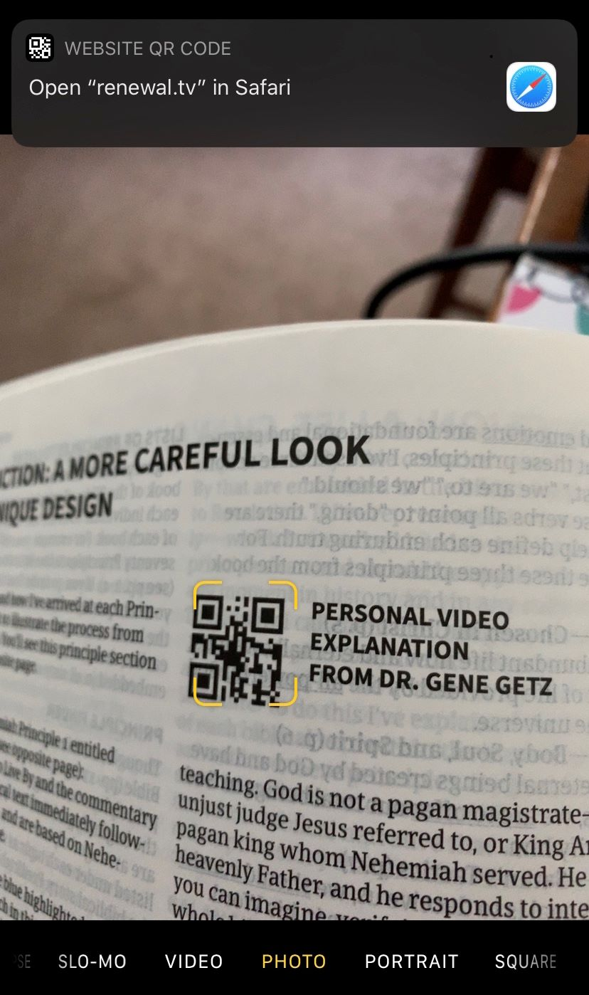 Scanned QR code from study bible