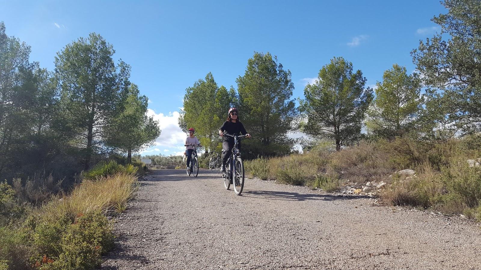 Cyclists in Villafamés, Castellón, Spain