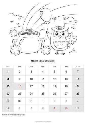 Calendario febrero 2020 con dibujos de méxico