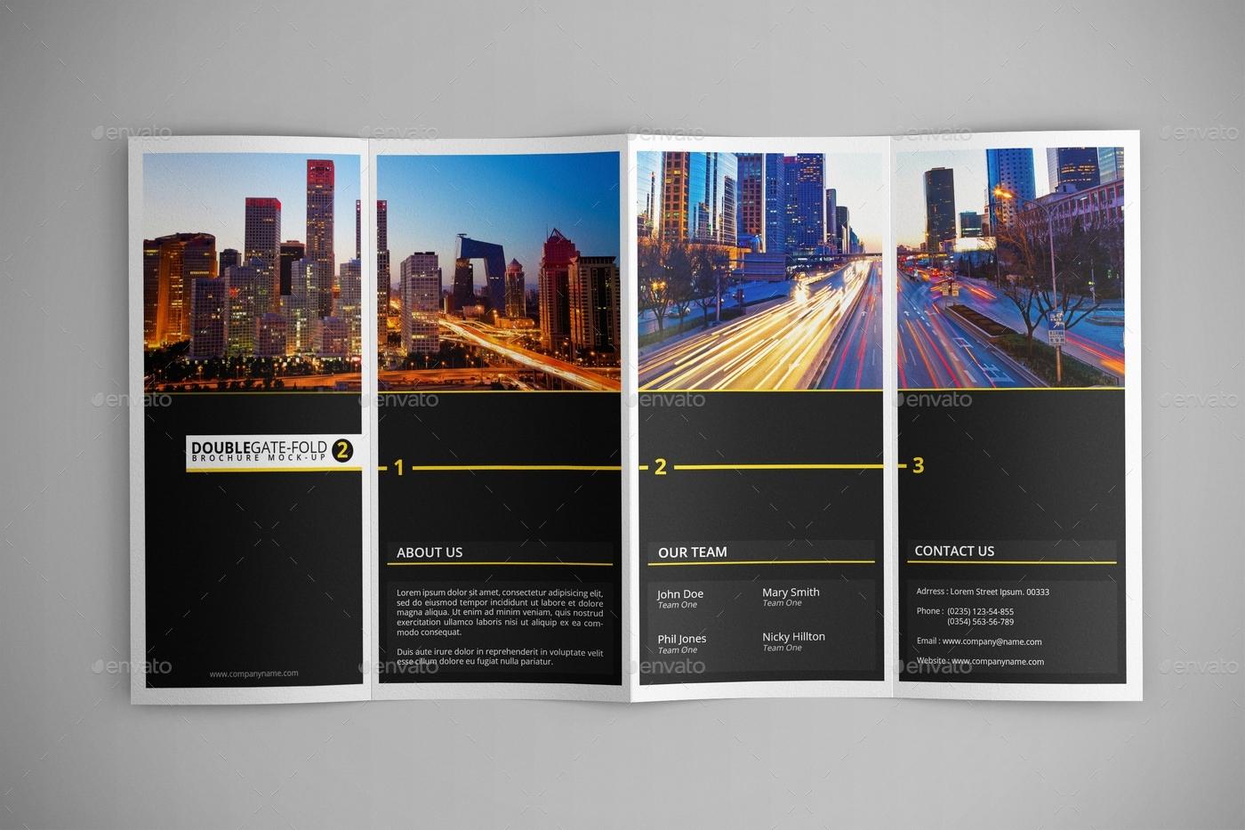 Download Double Gatefold Brochure MockUp 2 Free – Gate Fold Brochure Mockup