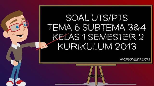 Soal UTS/PTS Tema 6 Subtema 3 & 4 Kelas 1 Semester 2 Tahun 2021