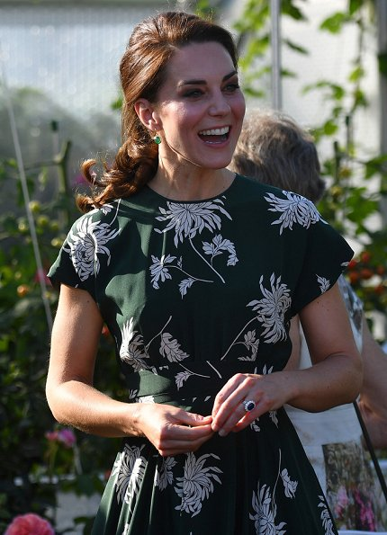 Kate Middleton wore Rochas Floral Printed Silk Crepe de Chine Dress, L.K. Bennett Fern pumps and Monica Vinader Siren Wire Earrings