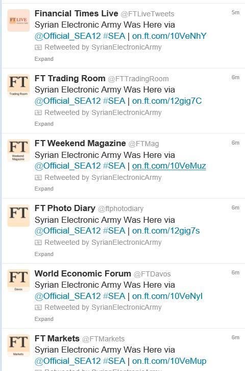 Financial Times (FT) twitter accounts and website hacked by Syrian