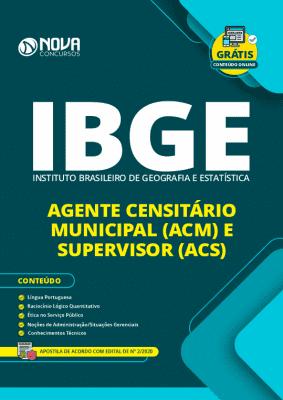 Apostila Concurso IBGE 2020 Agente Censitário Municipal e Agente Censitário Supervisor Grátis Cursos Online