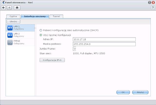 Konfiguracja interfejsów sieciowych w macierzy Synology