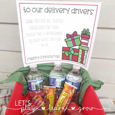 Delivery Driver Holiday Snack Thank You Idea and Free Printable