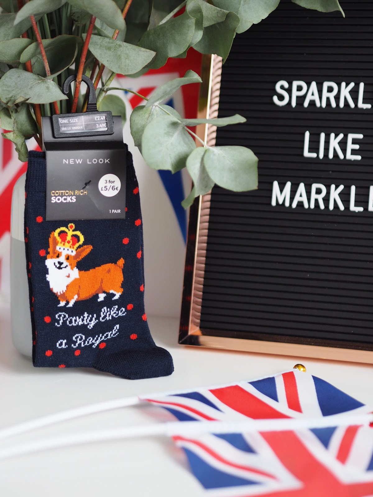 Party like a Royals New Look Socks with Corgi and Union Jacks
