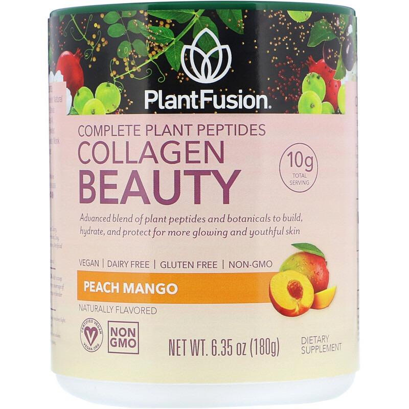 PlantFusion, Комплекс с растительными пептидами, Collagen Beauty, персик и манго, 180 г