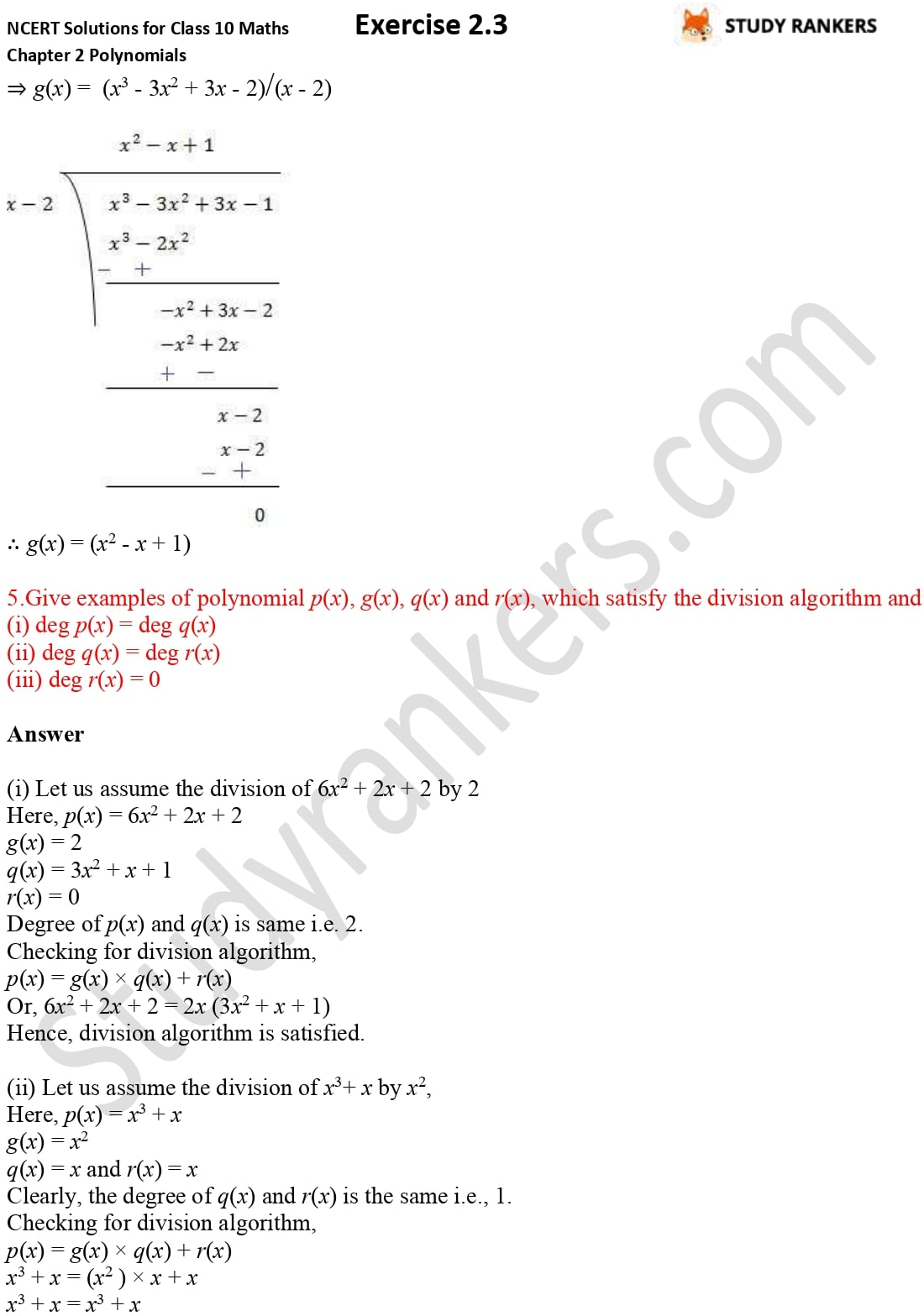 NCERT Solutions for Class 10 Maths Chapter 2 Polynomials Exercise 2.3 5